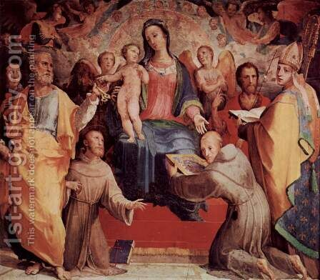 Altar in the Oratory of St. Bernardino of Siena, main board Enthroned Madonna by Domenico Beccafumi - Reproduction Oil Painting