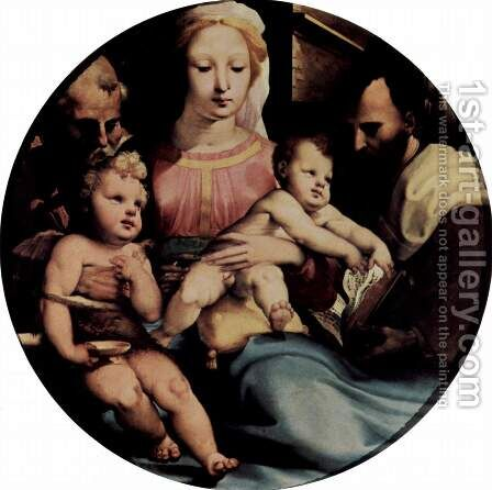 The Holy Family with John the Baptist and a donor, Tondo by Domenico Beccafumi - Reproduction Oil Painting