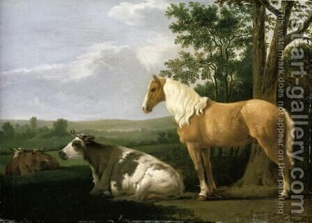 A Horse And Cows In A Landscape by Abraham Van Calraet - Reproduction Oil Painting
