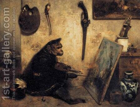 The Monkey Painter 1833 by Alexandre Gabriel Decamps - Reproduction Oil Painting