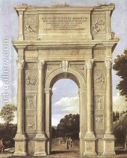 A Triumphal Arch of Allegories 1607-10 by Domenichino (Domenico Zampieri) - Reproduction Oil Painting