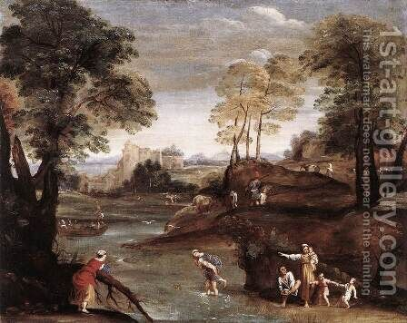Landscape with Ford c. 1603 by Domenichino (Domenico Zampieri) - Reproduction Oil Painting