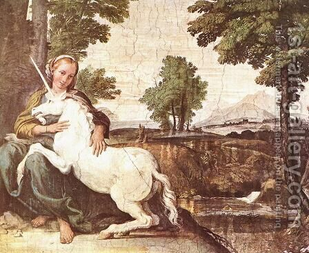 The Maiden and the Unicorn c. 1602 by Domenichino (Domenico Zampieri) - Reproduction Oil Painting