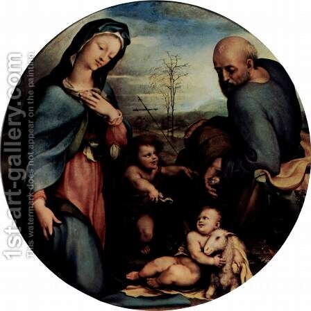 The Holy Family with John the Baptist by Domenico Beccafumi - Reproduction Oil Painting