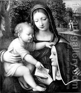 Madonna and Child and a nun by Bernardino Luini - Reproduction Oil Painting