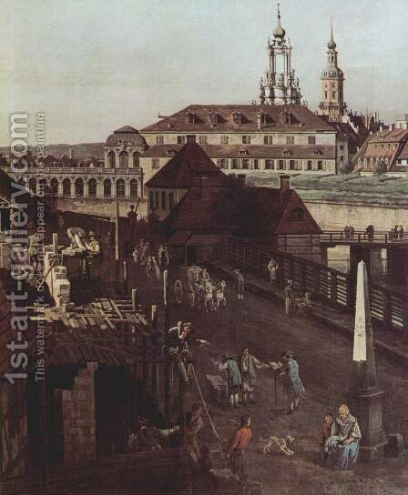 View of Dresden, the fortifications, the moat with a bridge by Bernardo Bellotto (Canaletto) - Reproduction Oil Painting