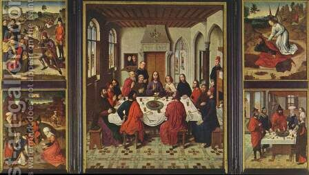 Altar in St. Peter in Louvain, establishment of Holy Communion, overview by Dieric the Elder Bouts - Reproduction Oil Painting