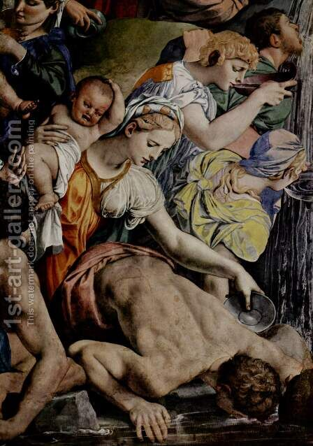 Frescoes in the Chapel of Eleonora da Toledo in the Palazzo Vecchio in Florence, left wall Moses beats water from the rock by Agnolo Bronzino - Reproduction Oil Painting
