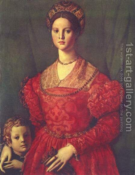 Portrait of a young woman with her son by Agnolo Bronzino - Reproduction Oil Painting