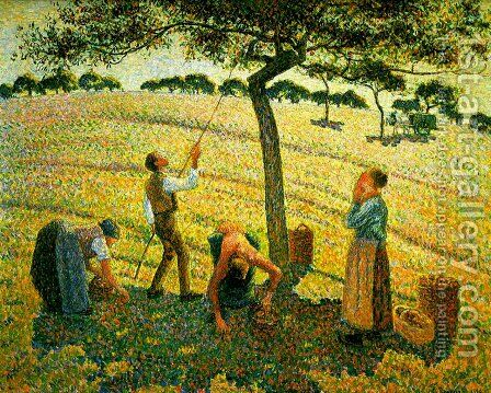 Apple harvest in Eragny by Camille Pissarro - Reproduction Oil Painting