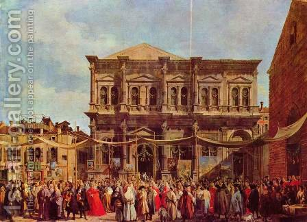 La Festa di San Rocco by (Giovanni Antonio Canal) Canaletto - Reproduction Oil Painting
