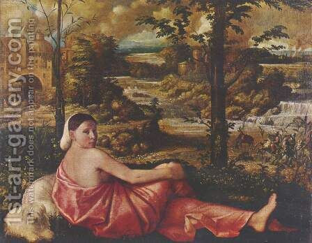 Dormant woman with a white lap dog in a landscape by Cariani - Reproduction Oil Painting