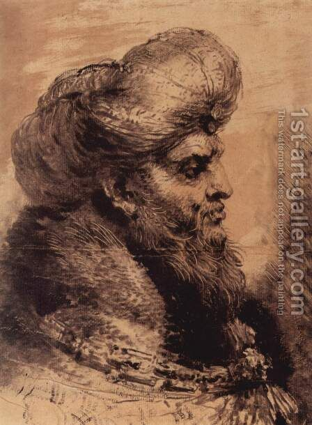 Head of a bearded Oriental by Giovanni Benedetto Castiglione - Reproduction Oil Painting