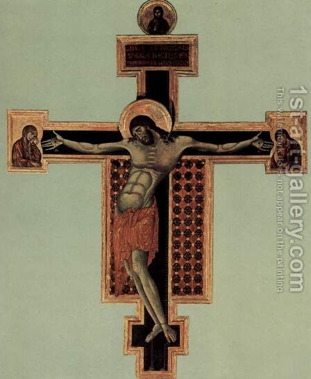Crucifixion, Tondo Blessing Christ, cross arms and Johannes Maria Italiano di Cimabue Crucifix Il by (Cenni Di Peppi) Cimabue - Reproduction Oil Painting
