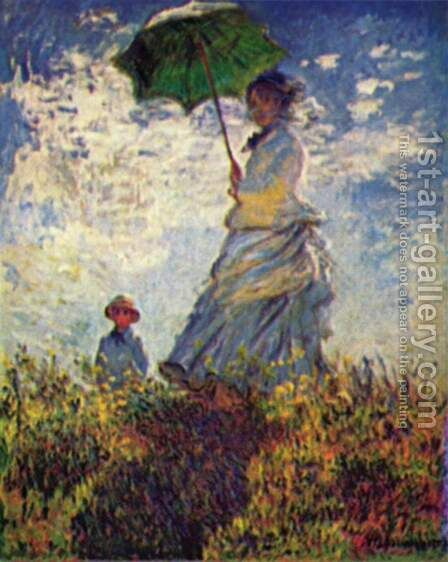 Camille Monet and son Jean on the hill by Claude Oscar Monet - Reproduction Oil Painting