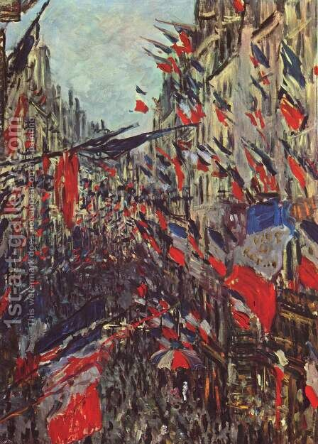 Rue Saint-Denis on the national holiday by Claude Oscar Monet - Reproduction Oil Painting