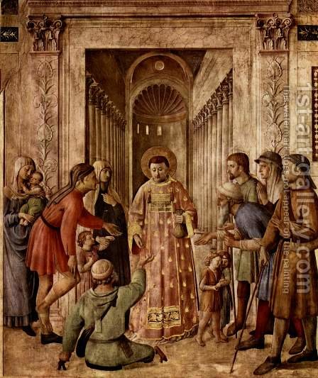Fresco cycle on the life of St. Stephen and St. Lawrence, St. Lawrence scene spread the church treasure to the poor by Angelico Fra - Reproduction Oil Painting