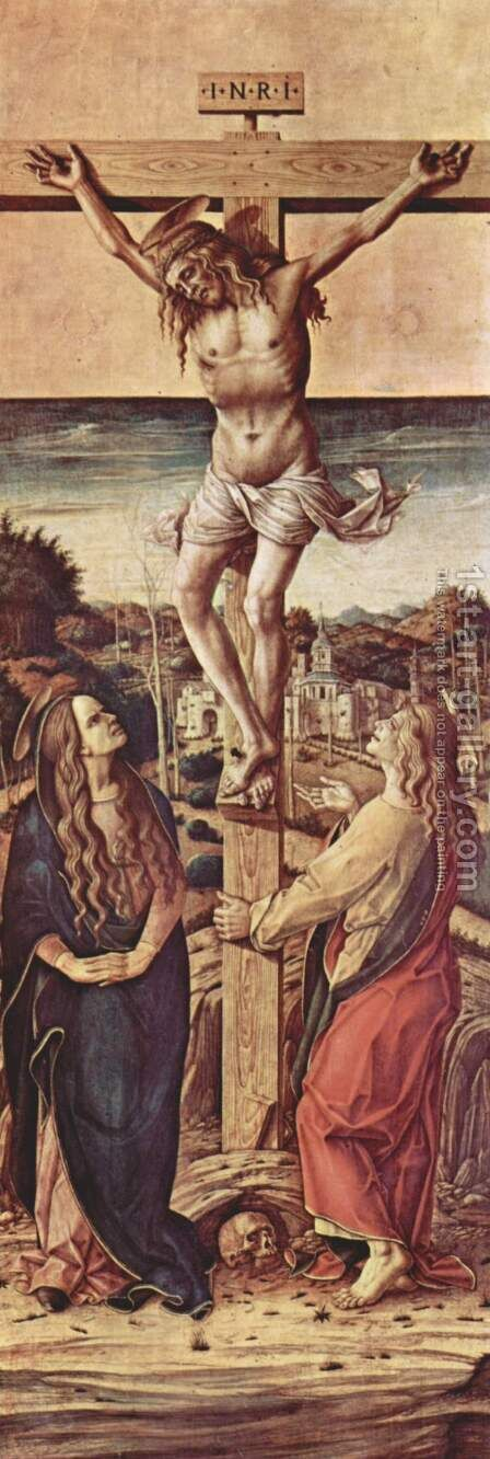 Altar of the Cathedral of Camerino, crucifixion scene by Carlo Crivelli - Reproduction Oil Painting