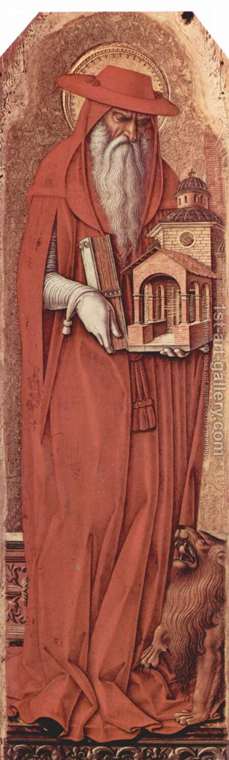 Polyptych altar of St. Peter Martyr, left inner wing, Scene St. Jerome by Carlo Crivelli - Reproduction Oil Painting