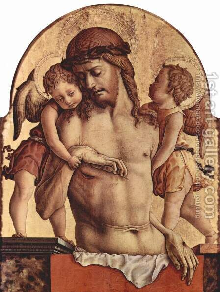 Polyptych altar of San Francesco at Montefiore dell 'Aso, additional sign of the main board angel Pieta by Carlo Crivelli - Reproduction Oil Painting