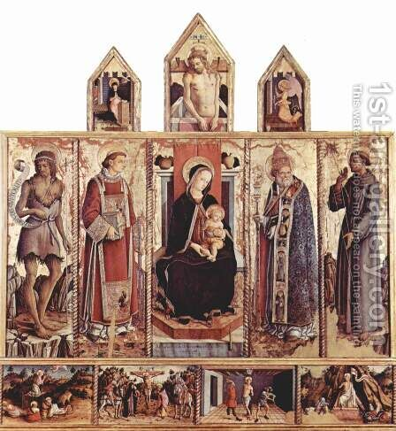 Altarpiece of San Silvestro at Massa Fermana general view, middle panel Enthroned Madonna, left and right panels saints, predella scenes of the Pass by Carlo Crivelli - Reproduction Oil Painting