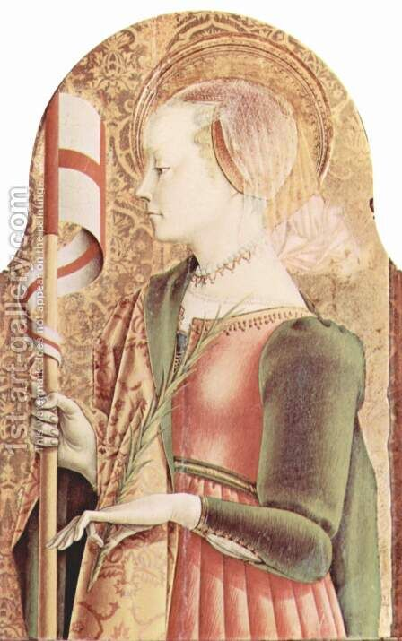 Main altar of the Cathedral of Ascoli, polyptych, inner right table St. Ursula by Carlo Crivelli - Reproduction Oil Painting