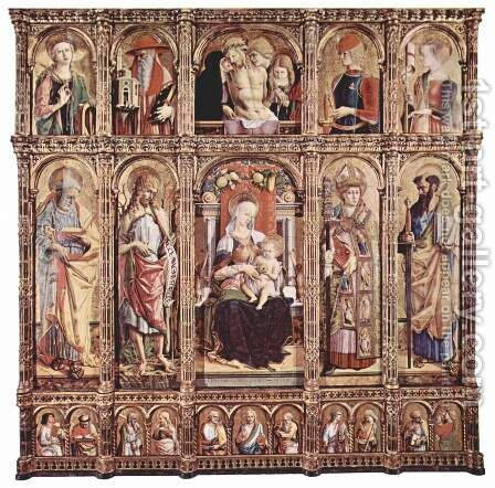Main altar of the Cathedral of Ascoli, polyptych general view by Carlo Crivelli - Reproduction Oil Painting