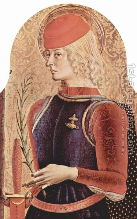 Main altar of the Cathedral of Ascoli, polyptych, inner right panel St George by Carlo Crivelli - Reproduction Oil Painting