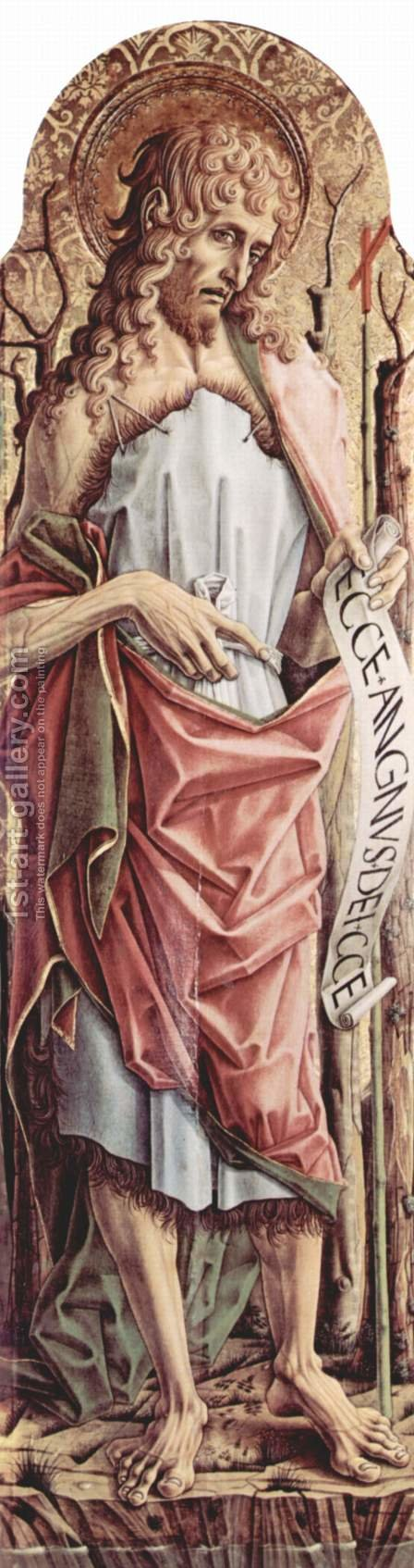 Main altar of the Cathedral of Ascoli, polyptych, left inner panel of St. John the Baptist by Carlo Crivelli - Reproduction Oil Painting