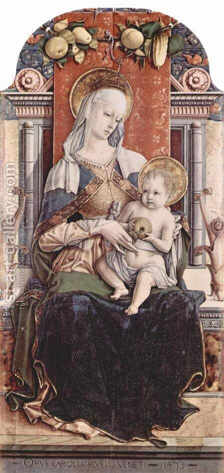 Main altar of the Cathedral of Ascoli, polyptych, middle panel Enthroned Madonna by Carlo Crivelli - Reproduction Oil Painting