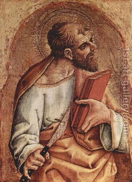 St. Bartholomew Italiano San Bartolomeo by Carlo Crivelli - Reproduction Oil Painting