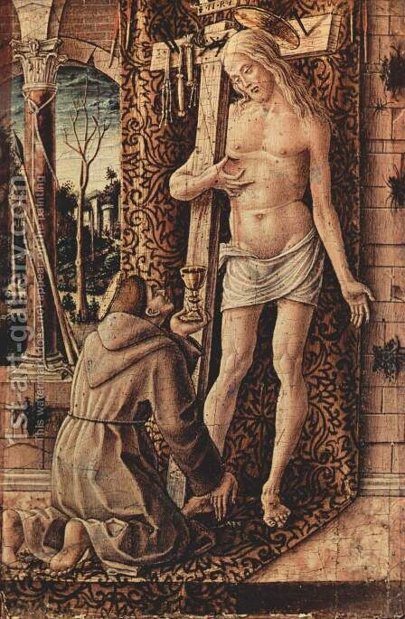 St. Francis of Assisi collects blood from Christ's wounds by Carlo Crivelli - Reproduction Oil Painting