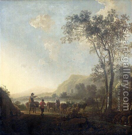 Mountainous landscape by Aelbert Cuyp - Reproduction Oil Painting