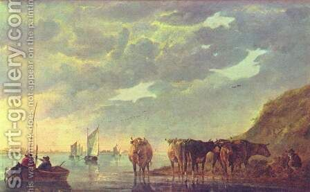 Shepherd with five cows on a river by Aelbert Cuyp - Reproduction Oil Painting