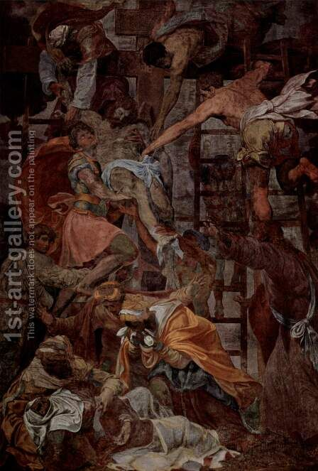 Fresco in the chapel Orsini Tues Trinita dei Monti, Scene Cross by Daniele da Volterra - Reproduction Oil Painting