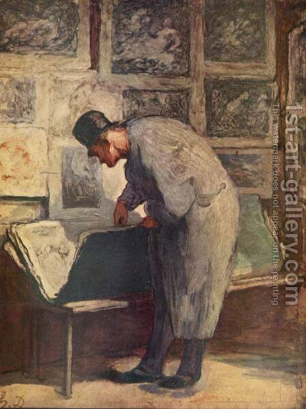 The engraving lovers by Honoré Daumier - Reproduction Oil Painting