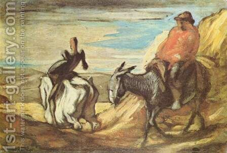 Sancho Panza and Don Quixote in the Mountains by Honoré Daumier - Reproduction Oil Painting