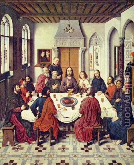 Altar in St. Peter in Louvain, The Holy Supper, central panel of the establishment of the Holy Communion by Dieric the Elder Bouts - Reproduction Oil Painting