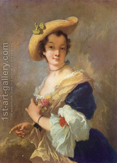 Portrait of a Lady with Straw Hat by Christian Wilhelm Ernst Dietrich - Reproduction Oil Painting