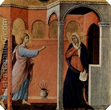 Maesta, altarpiece of Siena cathedral, front, predella with scenes from the childhood of Jesus and the prophets, preaching scene by Duccio Di Buoninsegna - Reproduction Oil Painting