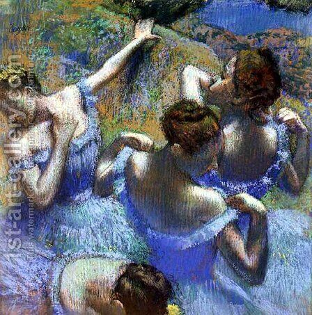Dancers in blue by Edgar Degas - Reproduction Oil Painting