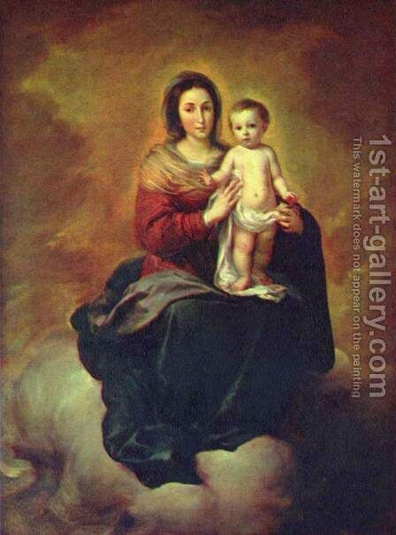Madonna - Maria with child by Bartolome Esteban Murillo - Reproduction Oil Painting