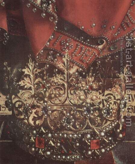 Ghent altar altar of the Mystic Lamb, upper middle head table, scene enthroned God the Father, detail of crown and robe by Hubert van Eyck - Reproduction Oil Painting