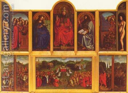 Ghent altar altar of the Mystic Lamb, scene view of the open altar by Hubert van Eyck - Reproduction Oil Painting