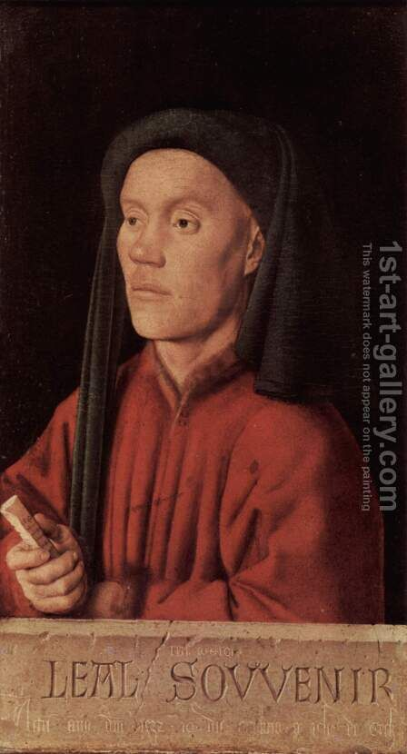 Portrait of a man (Timoteos) by Jan Van Eyck - Reproduction Oil Painting
