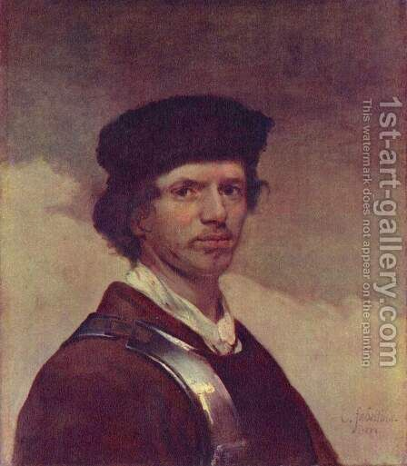 Portrait of a young man with fur cap and cuirass (Self Portrait) by Carel Fabritius - Reproduction Oil Painting