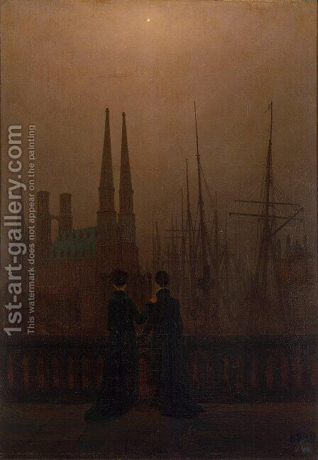 Night in the harbor (sisters) by Caspar David Friedrich - Reproduction Oil Painting