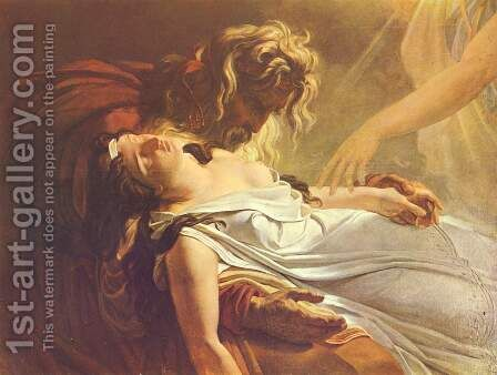 Malwine, dying in the arms of Fingal by Anne-Louis Girodet De Roussy-Trioson - Reproduction Oil Painting