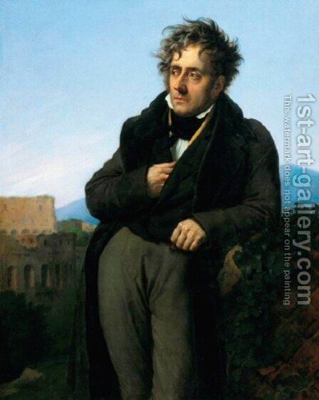 Portrait of Chateaubriand meditating on the ruins of Rome by Anne-Louis Girodet De Roussy-Trioson - Reproduction Oil Painting