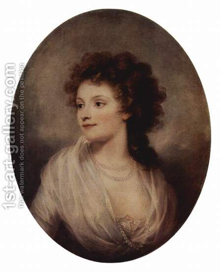 Portrait of Sophie Charlotte Manteuffel, Oval by Giuseppe or Josef Grassi - Reproduction Oil Painting